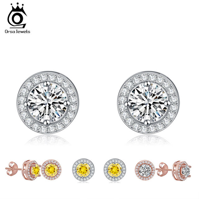 ORSA JEWELS Silver Color Earring Stud with 0.75 ct Hearts and Arrows Cut AAA Cubic Zirconia Fashion Women Earring Jewelry OE104