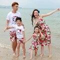 Лето семья оборудованная матери-дочери девушки цветочное платье папа сын мальчики Cothing комплект путешествия пляжный родителей - детская одежда S2903