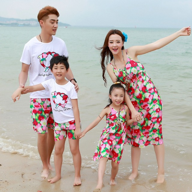 Summer Family Fitted Mother Daughter Girls Flower Dress Dad Son Boys Cothing Set Travel Holiday Beach Parents-Kids Clothes S2903