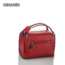 ISHARES korean flap handbag small square messenger bag import genuine leather milled cowhide bags women crossbody IS8069-A