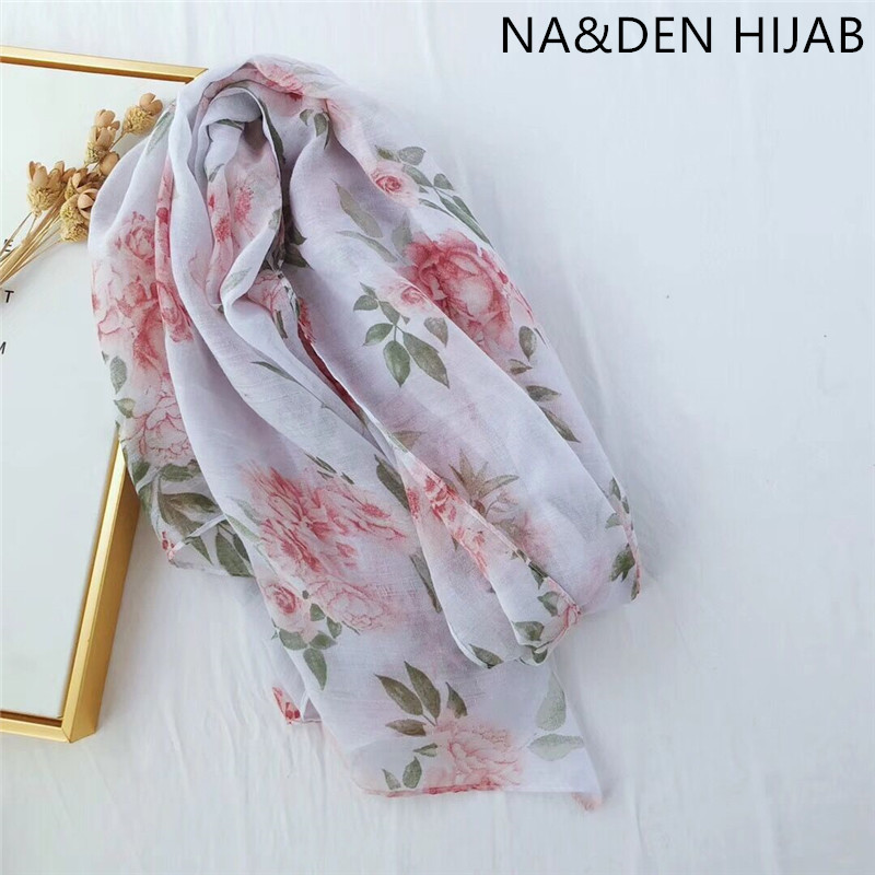 Flower printing viscose muslim hijab women fashion spring and summer white scarf/scarves bandana wraps fast shipping 10pcs/lot