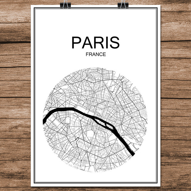 paris france abstract world city street map print poster coated paper cafe bar living room home
