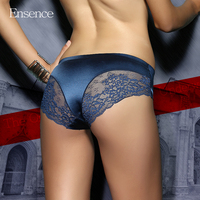 4 Pack Ensence Mixed Colors Sexy Lingerie Seamless Lace Briefs Satin Silk Panties Underwear Women Cotton