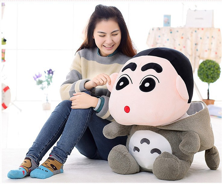Japan anime totoro design Crayon Shin-chan plush toy large 75cm soft hugging pillow birthday gift w5179 8pcs lot anime crayon shin chan mini pvc action figure cute crayon shin chan figures toys doll collectible model toy gift