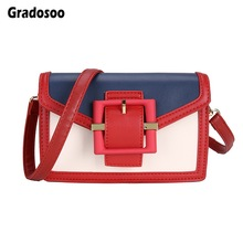 Gradosoo Panelled Crossbody Bags Women Vintage Women Bags Over Shoulder Fashion Women's Pouch PU Leather Casual Small Bag LBF569