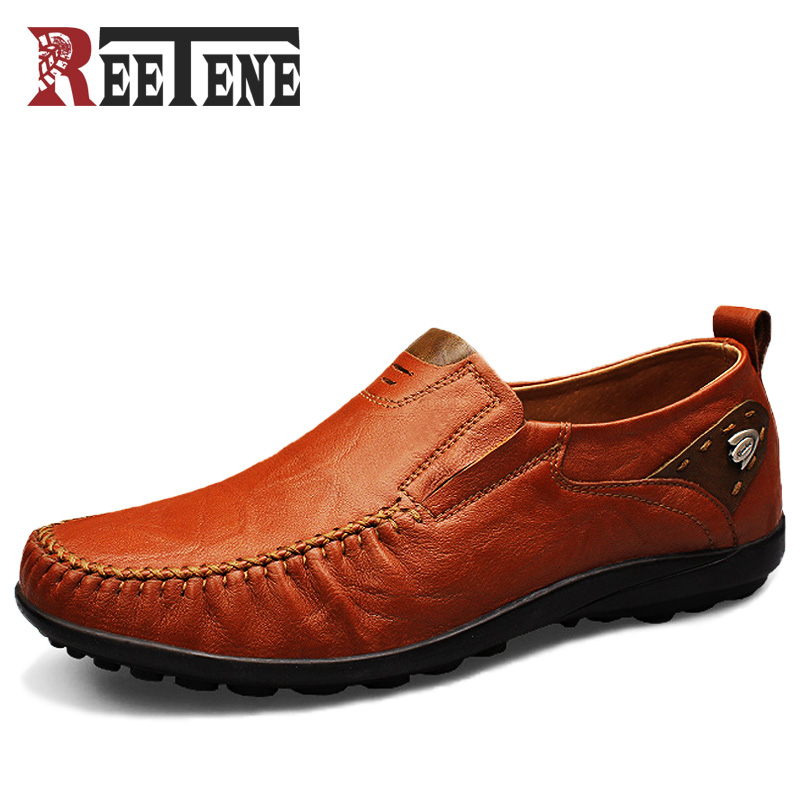 Big Size:37-46 Genuine Leather Men Loafers, Breathable Soft-Soled Men Shoes, Men Moccasin, Driving Men Leather Shoes branded men s penny loafes casual men s full grain leather emboss crocodile boat shoes slip on breathable moccasin driving shoes