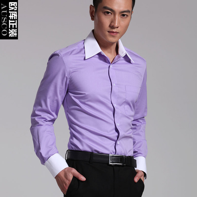7a874826e55 Formal long-sleeve Violet color block white collar male shirt wrinkle-free  easy care commercial slim shirt