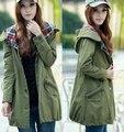 2016 Das Mulheres novas Com Capuz Exército Verde Trench Coat longo Casacos roupas soltas Mulheres moda primavera Trench Coat