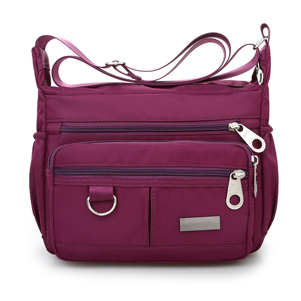 Women Fashion Solid Color Zipper Waterproof Nylon Shoulder Bag  Handbags,Shoulder Bag purple 25cm*19cm*9cm 33