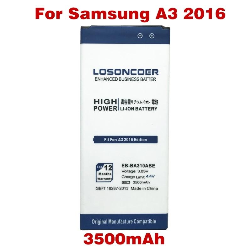 imágenes para EB-BA310ABE LOSONCOER Nuevos Top 3500 mAh para Samsung Galaxy A3 A310 A3100 A310F 2016 Edición A5310 Batería