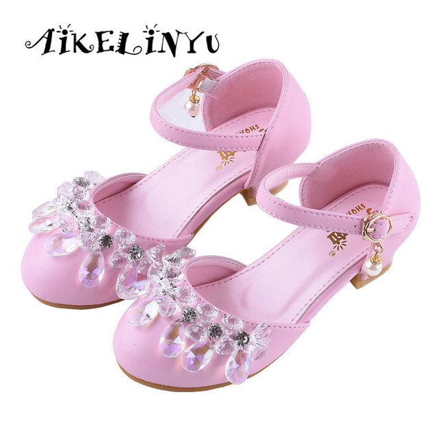 bfe4c5158ae8 2019 Summer Children High-heeled Sandals Girl Fashion Crystal Princess Elsa  Anna Shoes Autumn Girls Pink Silver Performance Shoe