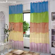 Modern Rainbow Stripes Window Tulle Curtains for Living Room Bedroom Sheer Kurtyna Kitchen Outdoor Door