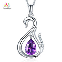 Peacock Star 14K White Gold 2.5 Ct Purple Topaz Swan Pendant Necklace 0.06 Ct Diamond
