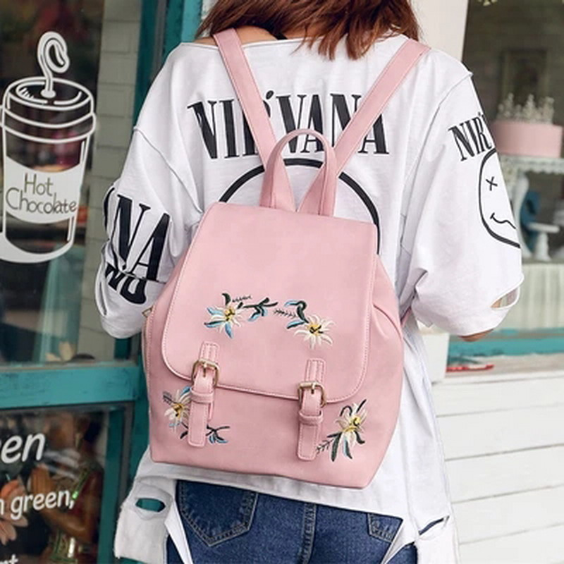 Fashion Girl Backpack Rucksack Pu Leather College Students Shoulder Bag Mini Women Backpacks Flower Travel Bags Knapsack Pink fashion new women students lovely canvas backpack college small cartoon print sathel multifunction travel bags mochila feminina