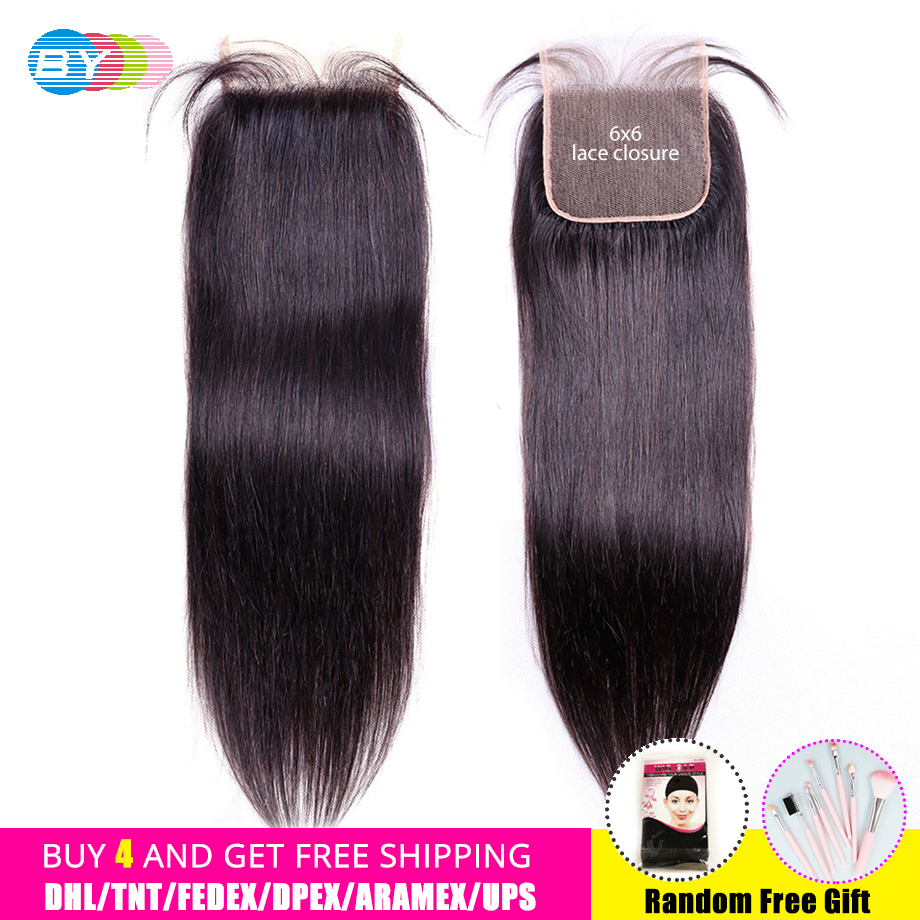 BY 6x6 Closure Straight Hair Kim K Closure Swiss Lace Brazilian Human Hair Hd Closure Pre Plucked With Baby Hair Remy Hair