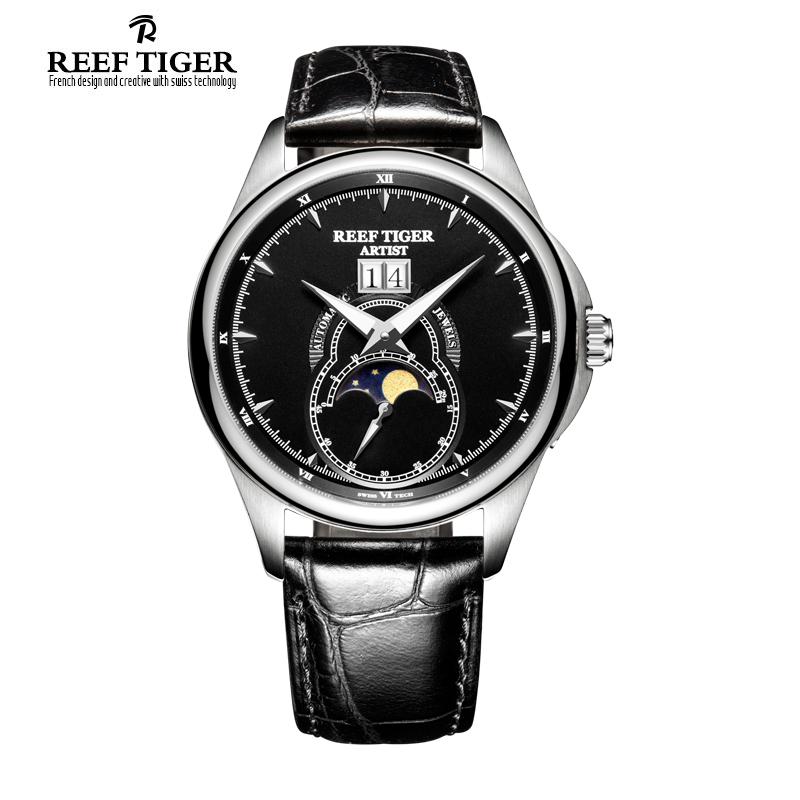 Reef Tiger/RT Fashion and Generous Watches for Men Mechanical Moon Phase Watches with Big Date Steel Automatic Watches RGA1928
