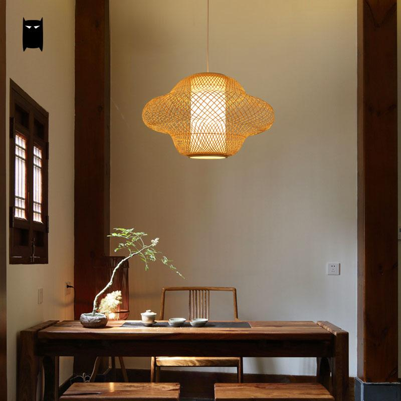 Bamboo Wicker Rattan Baby Shade Pendant Light Fixture Rustic Cute Hanging Suspension Lamp Avize Designer Kids Bed Room Tea Table bamboo wicker rattan bugle shade pendant light fixture rustic vintage hanging lamp design bar study room kitchen balcony hallway