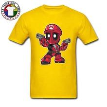 Deadpool Mario Agent Cop Funny T-Shirt Marvel Dead Pool Shoot Bullet Superheroes 100% Cotton Fashion Tee Shirt Man Avengers