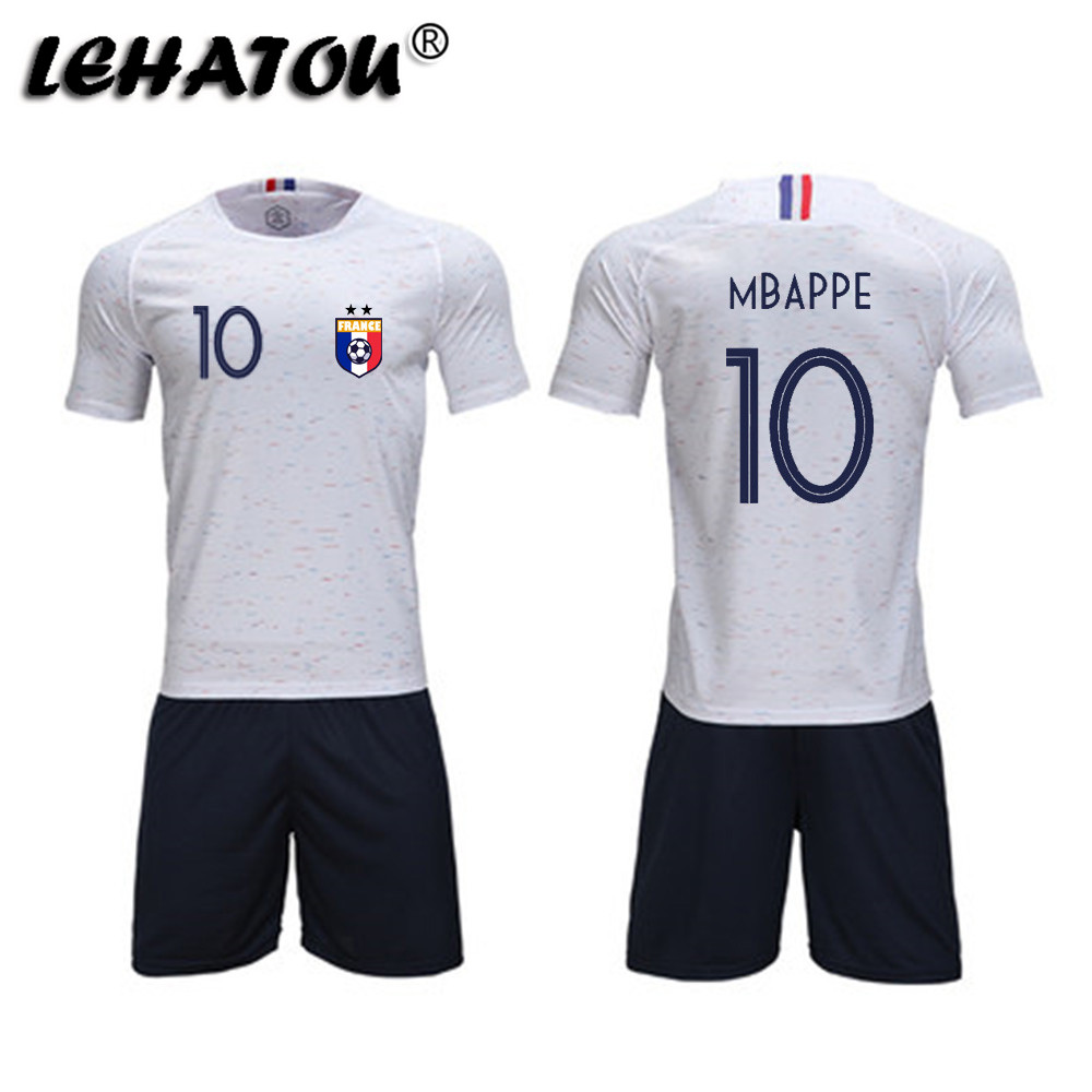 74fdd96554a Mouse over to zoom in. Soccer Jersey France Men Football Sets Adults Soccer  Shirts Top Quality MBAPPE GRIEZMANN POGBA 2 Stars ...