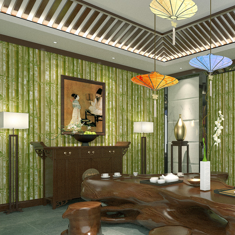 Bamboo Room Decorations: Chinese Simulation Bamboo Wall Paper Vinyl Green Bamboo