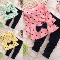 new 2015,children clothing set,kids clothes,baby girl bow clothes,baby girl heart Outfits Tops Sweater + Pants baby girl suit