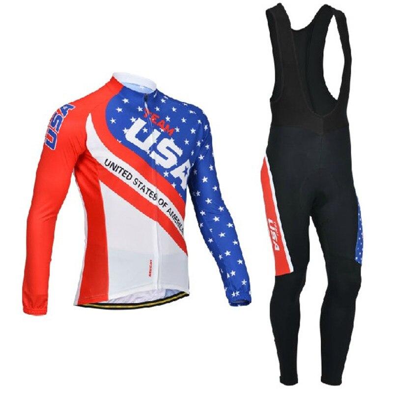 Drapeau cyclisme ensemble 2018 USA cyclisme maillots hommes ensemble cyclisme vêtements drapeau National manches longues vélo vêtements Ropa Ciclismo