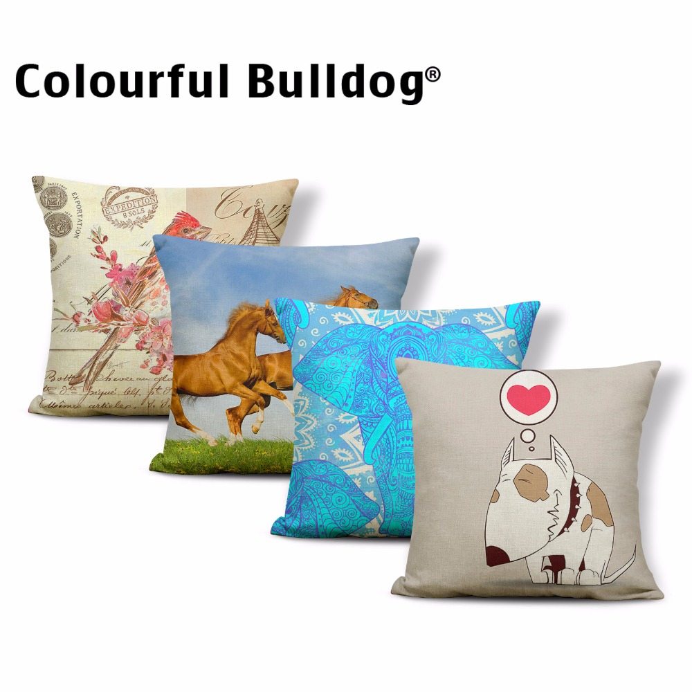 Wholesale Geometric Striped Watercolor Elephant Cushion Cover Rectangle Pink Flamingo Pillowcase Deer Dog Parrot Deocr Home Sofa Diversified In Packaging Home Textile