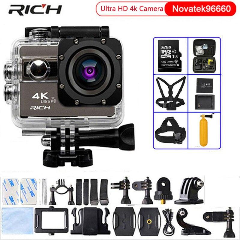 RICH Action Camera F68 Ultra HD 4K 24fps Novatek 96660 Wifi 2.0Screen 170 Angles Extreme Waterproof 30m Sports Camera f88 action camera black