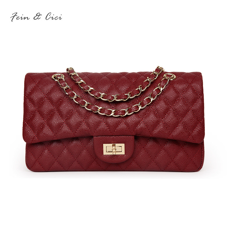 luxury brand chains double flap bag women genuine cow leather classic caviar shoulder bag handbag totes red black grey 2018 new luxury brand chains double flap bag 100% genuine leather sheepskin women classic shoulder bag handbag totes red black beige pink