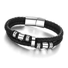 529bc534f4ff Pulseras de cuero y brazaletes de acero inoxidable cuerda Braid pulseras  hombres joyería 185 MM 200mm 215mm (BA101174)