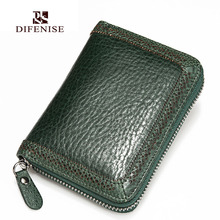 Difenise Authentic Cow Leather women Wallets Vintage style Zipper close large capacity women Short Organizer wallets 5 Color Hot
