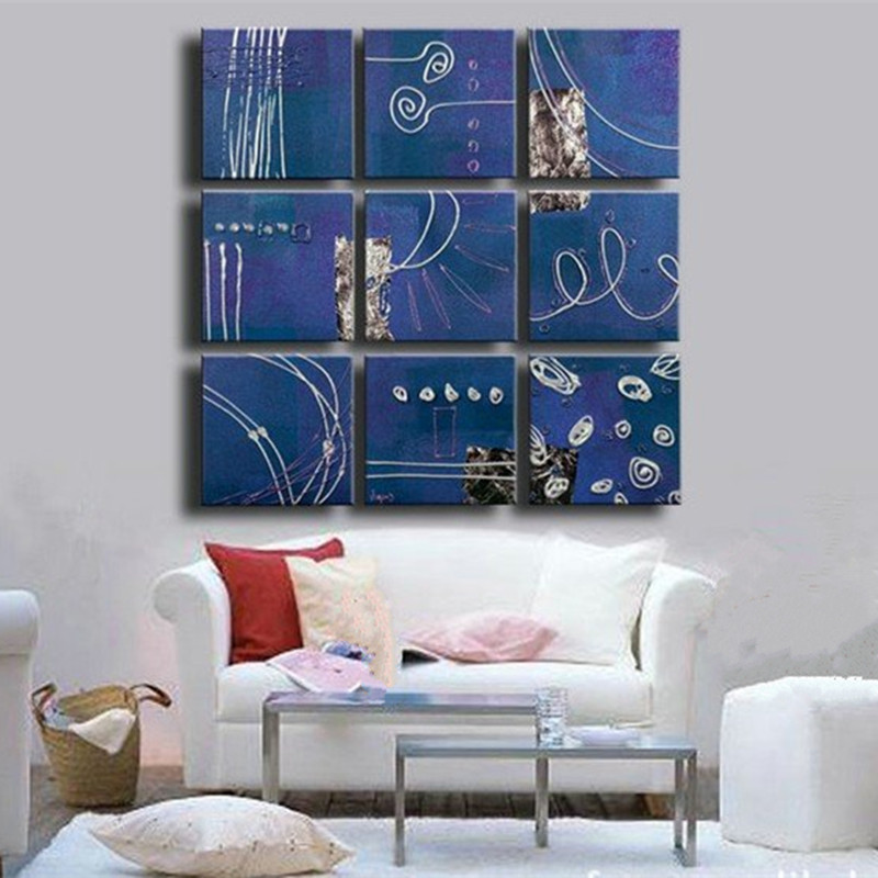 Hand-painted Abstract Geometric Blue Oil Painting on Canvas Acrylic Graffiti Lines Paintings Wall Art Decor 9 Panel Pictures Set  wall art set of 9 | Contemporary Metal Wall Art – Set of 9 Made out of Aluminum Hand painted Abstract Geometric Blue Oil Painting on Canvas Acrylic Graffiti Lines Paintings font b Wall