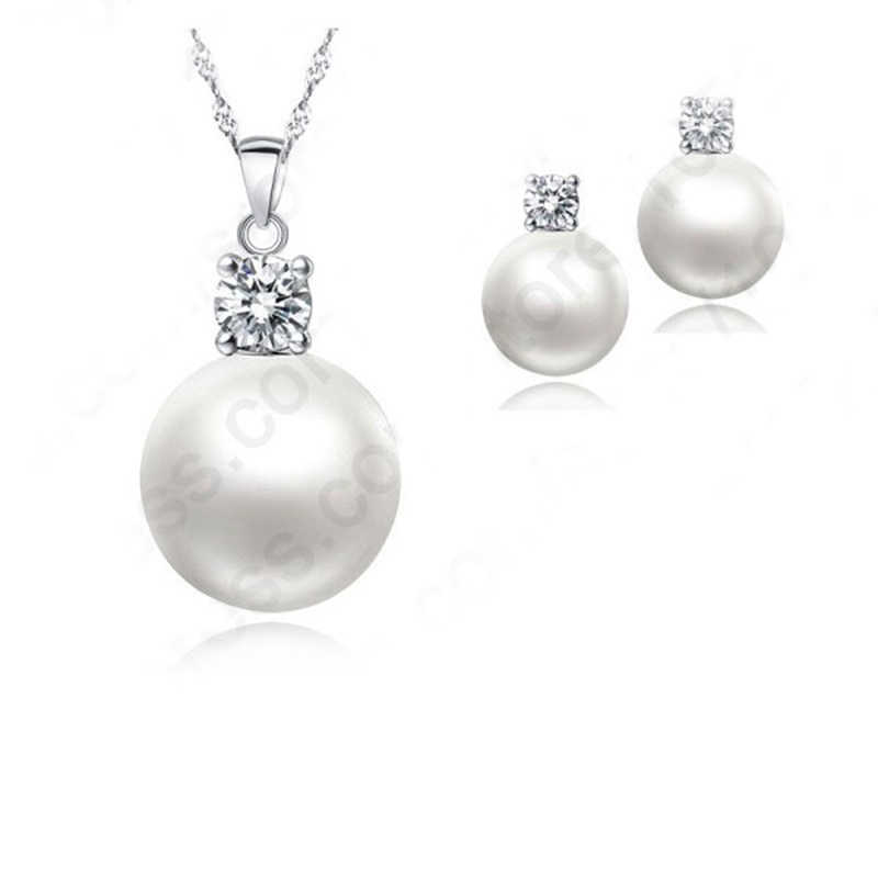 Top Quality Wedding Jewelry Set Water Pearl Earrings Necklace 925 Sterling Silver Pendant Necklace Free Shipping