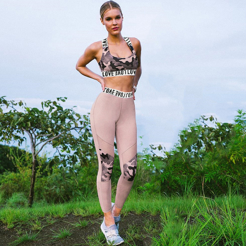 CHRLEISURE-Casual-Women-Sets-Camouflage-Printing-Stitching-Mesh-High-Waist-Breathable-Leaf-Printing-Two-piece-Girl