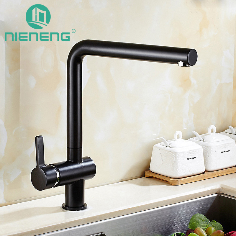 Nieneng Kitchen Supplies Black Taps Items Swivel Sink Mixer Drinking Water Useful Kitchen Faucet ICD60415