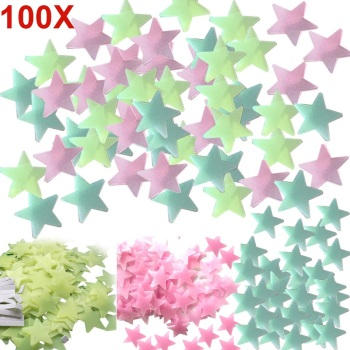 100pcs DIY Wall Decals Glow Stars Luminous Fluorescent Wall Stickers for Kids Room