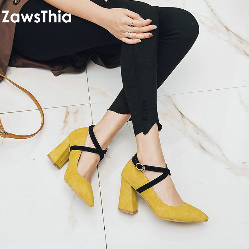 ZawsThia 2018 new pointed toe ankle wrap cross tied yellow woman high heels office career dress shoes pumps for women size 33-42 size 33 43 new 2017 genuine leather womens shoes wedges pointed toe high heels women office & career shoes woman single shoes
