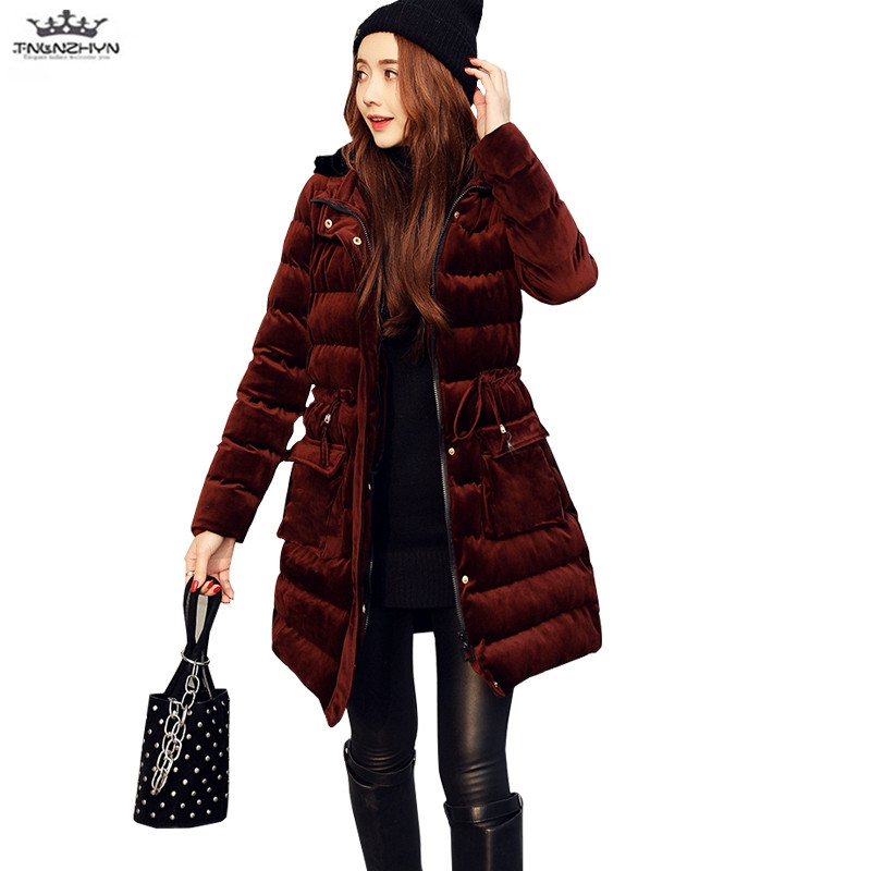 tnlnzhyn 2017 New Winter Women Coat Thick Hooded Cotton Down Cotton Jacket Slim Fashion Warm Cotton Coat Casual Jacket Y662 fashionable thick hooded pleated down coat for women