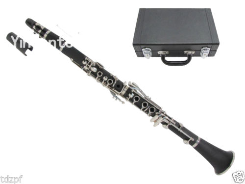New Professional CLARINET Ebonite Wood Nickel Plated Key Bb Key 17 Key Case #6