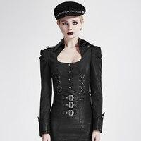 Steampunk Militaire Uniforme Noir Sexy Couleur Pure Femmes Chemises Gothique Col Carré Manches Longues Moulante Slim Casual Blouses