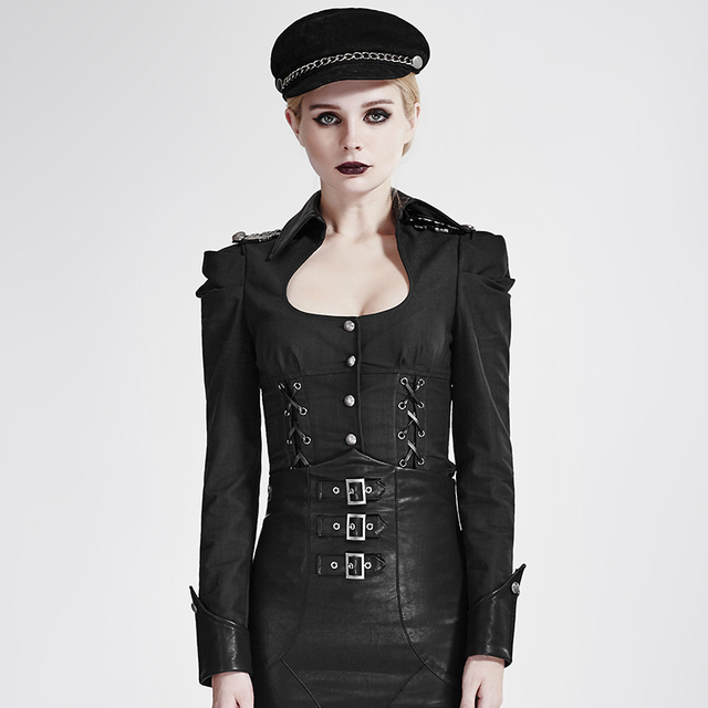 9f81c4c6ab3 Steampunk Military Uniform Black Sexy Pure Color Women Shirts Gothic Square  Collar Long Sleeve Bodycon Slim Casual Blouses