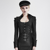 Steampunk Military Uniform Black Sexy Pure Color Women Shirts Gothic Square Collar Long Sleeve Bodycon Slim Casual Blouses