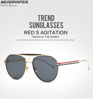 WEARKAPER Tricolor Stripes Aviator Sunglasses For Women Circular Wire Frame Sunglass In Double Bridge Pink Glasses