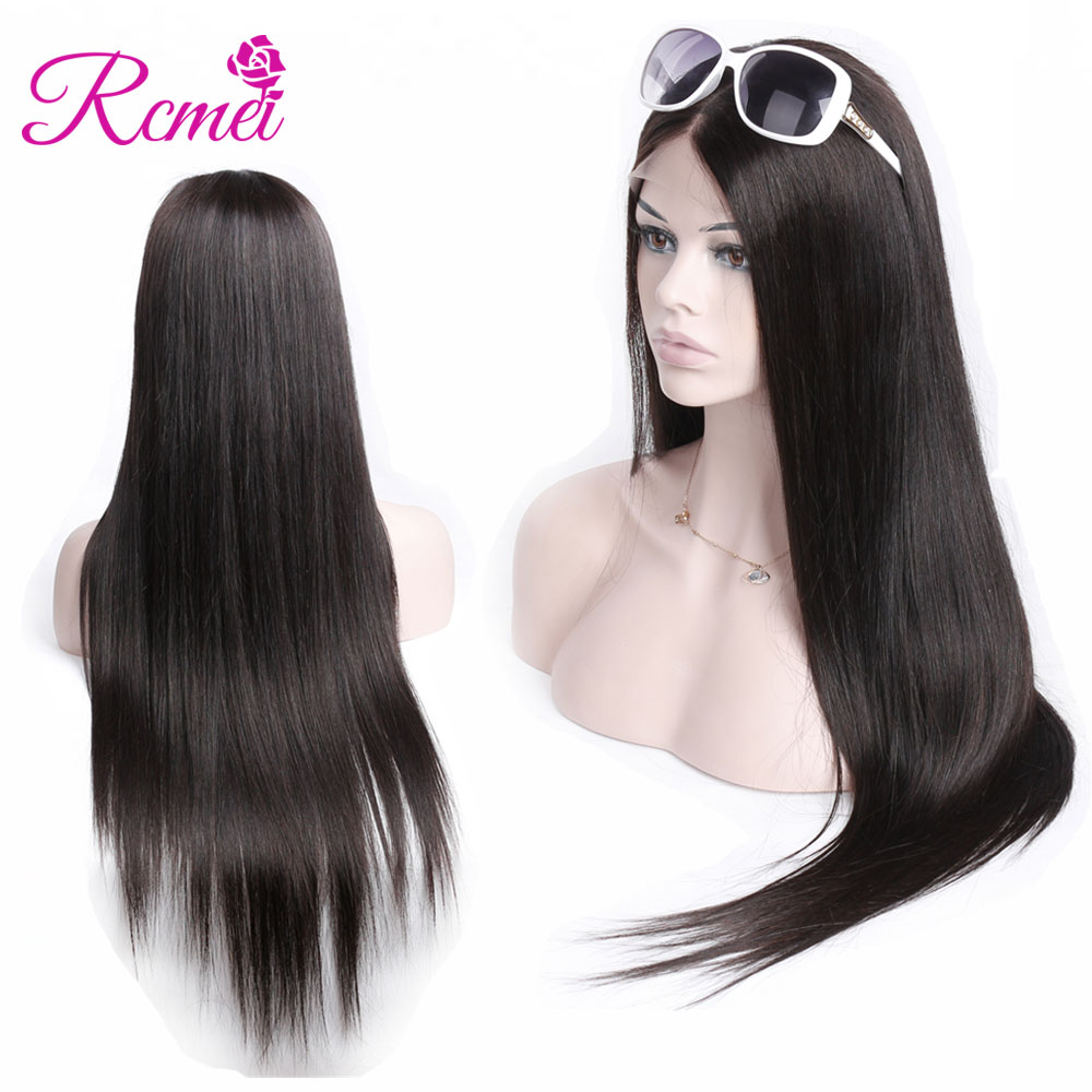 Rcmei Straight Hair Full Lace Human Hair Wigs Pre Plucked With Baby Hair Brazilian Remy Hair