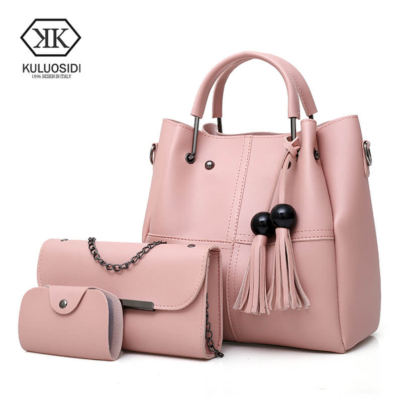 KULUOSIDI 3 Pcs Set Women Tote Bag High Quality Casual Female Handbags Large Capacity Composite Bag Tassel Women Shoulder Bags high quality tote bag composite bag 2