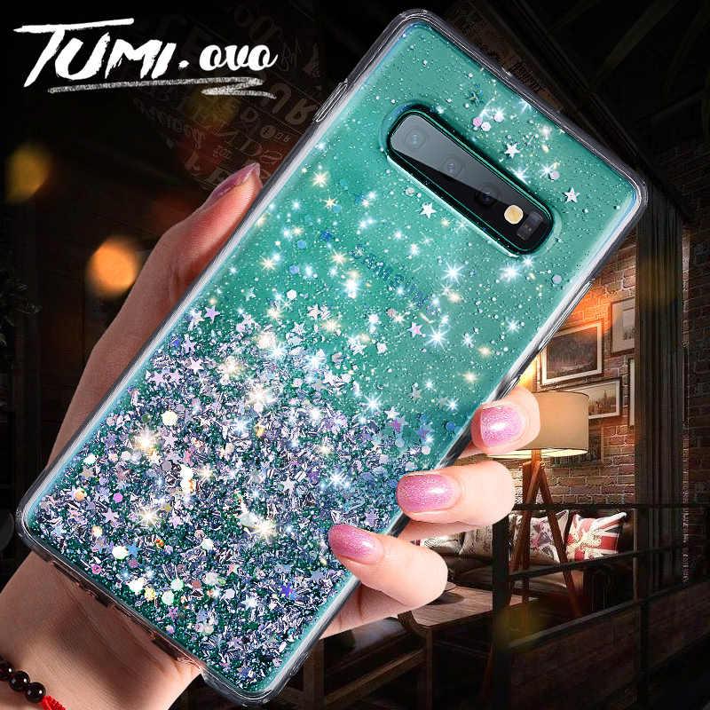 Silver Foil Star Bling Glitter กลับสำหรับ Samsung Galaxy S8 S9 S10 Plus หมายเหตุ 8 9 Soft TPU เคสโทรศัพท์ซิลิคอน