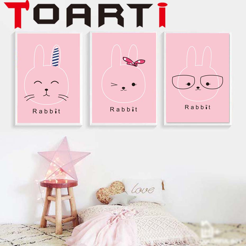 Nordic Decoration Poster Cartoon Pink Cute Rabbit Wall Art Canvas Poster Nursery Quotes Print  Painting Pictures The Best  Gift