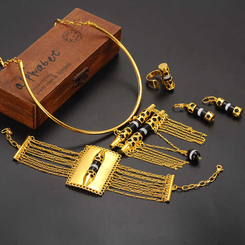 ที่ไม่ซ้ำกันคอแถวจี้ต่างหูแหวนกำไลข้อมือกว้างชุด 24 พัน Fine Solid ทอง Eretrian เครื่องประดับแอฟริกันชุด
