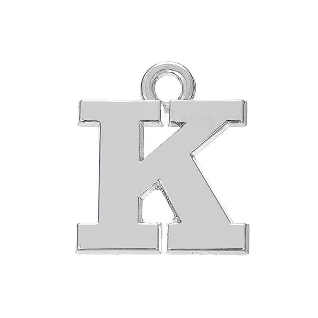 Zinc Alloy Metal Antique Silver Greek Letters Ka Charm Alphabet K Pendants For Bracelet Necklaces Making