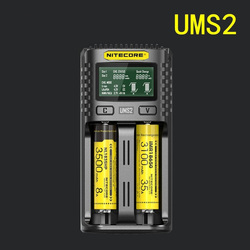 1 pc 최고의 가격 nitecore ums2 스마트 2 슬롯 qc 고속 충전 전류 usb 충전기와 다중 호환